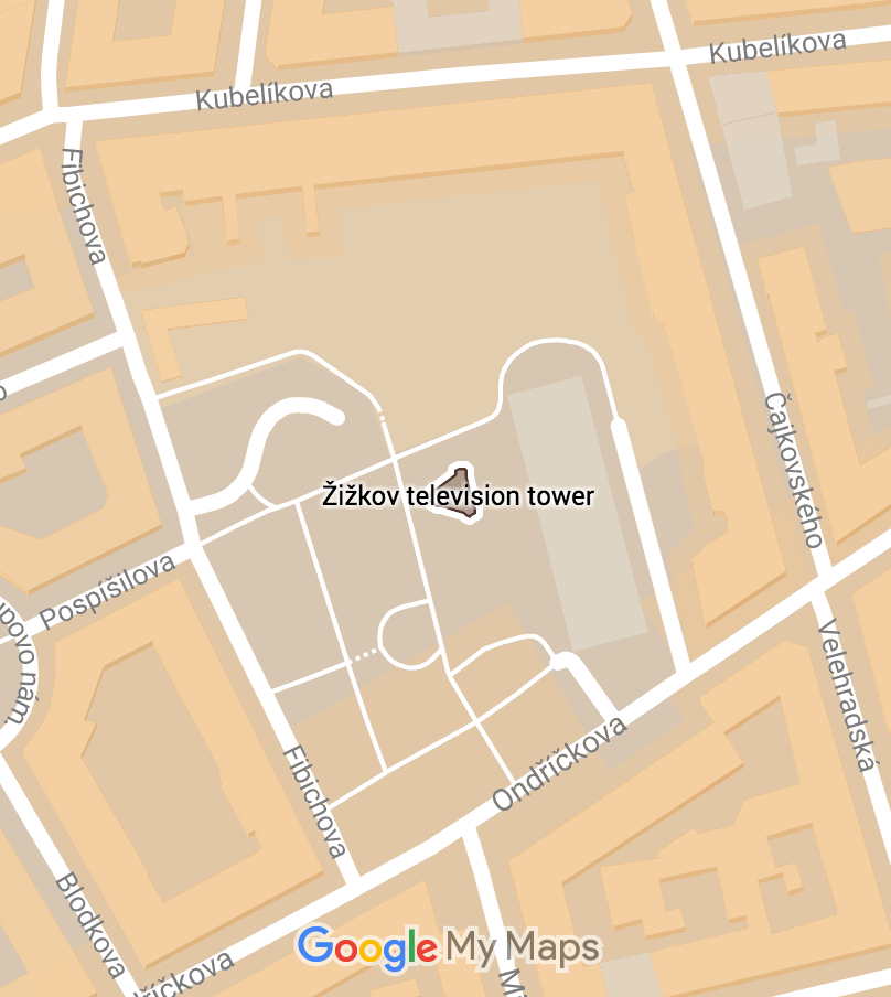 Žižkov Television Tower on a map